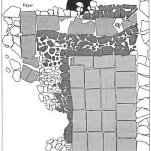 Plan du séchoir F 4001 :<br /> <br /> 1 : pierres ;<br /> 2 : trou de poteau ;<br /> 3 : tuiles et briques des cloisons ;<br /> 4 : tuiles de la chambre et du canal de chauffe