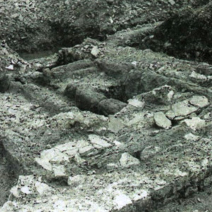 Leudersdorf (I). Vue du séchoir du IVe s. en cours de fouille
